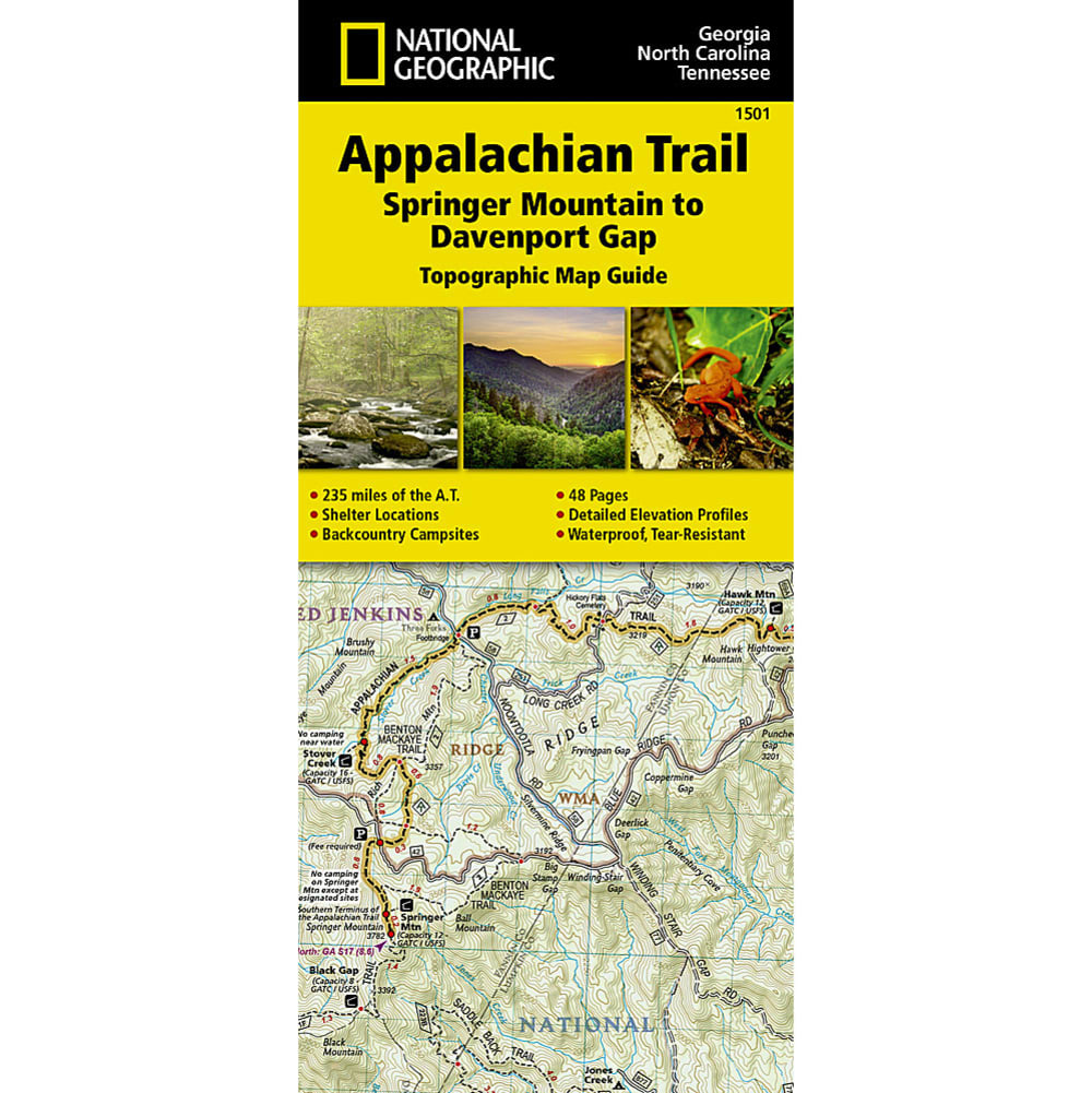 NATIONAL GEOGRAPHIC Appalachian Trail Springer Mountain to Davenport Gap Map Guide NO SIZE