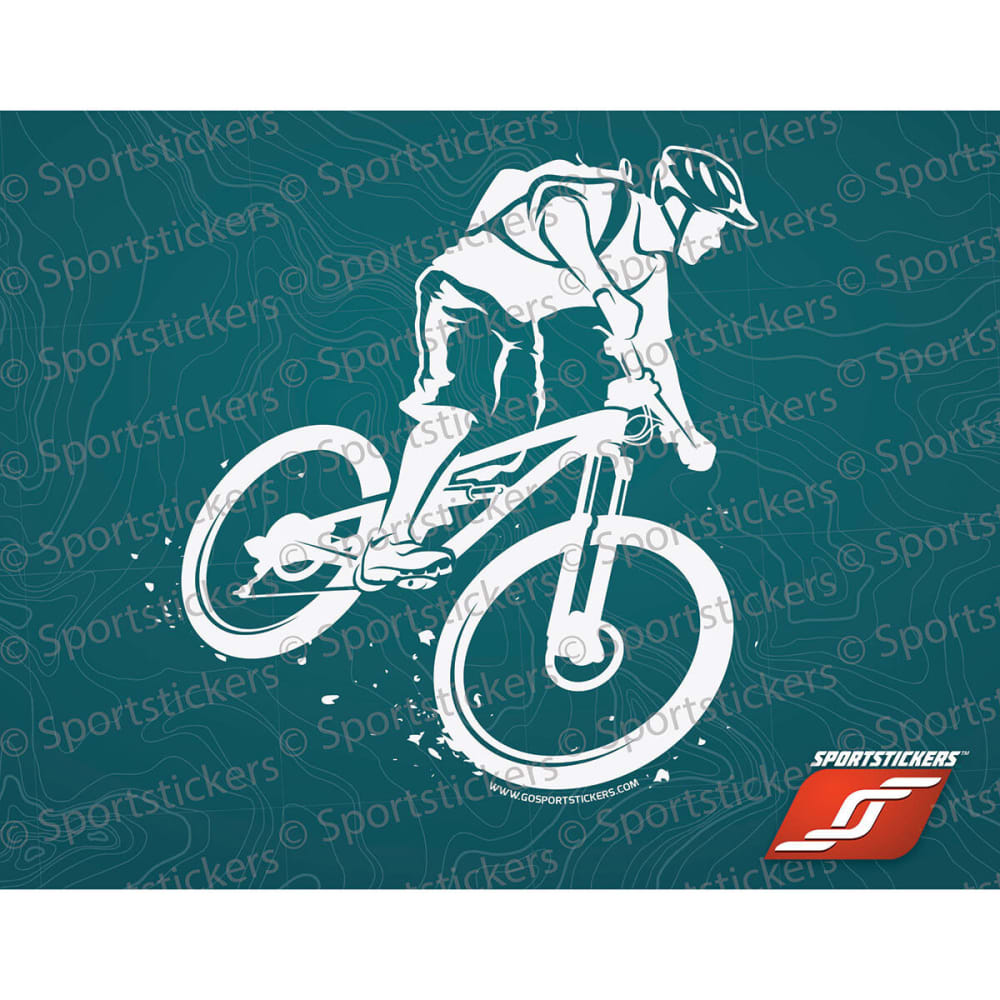 SPORTSTICKERS Mountain Biker, White - WHITE