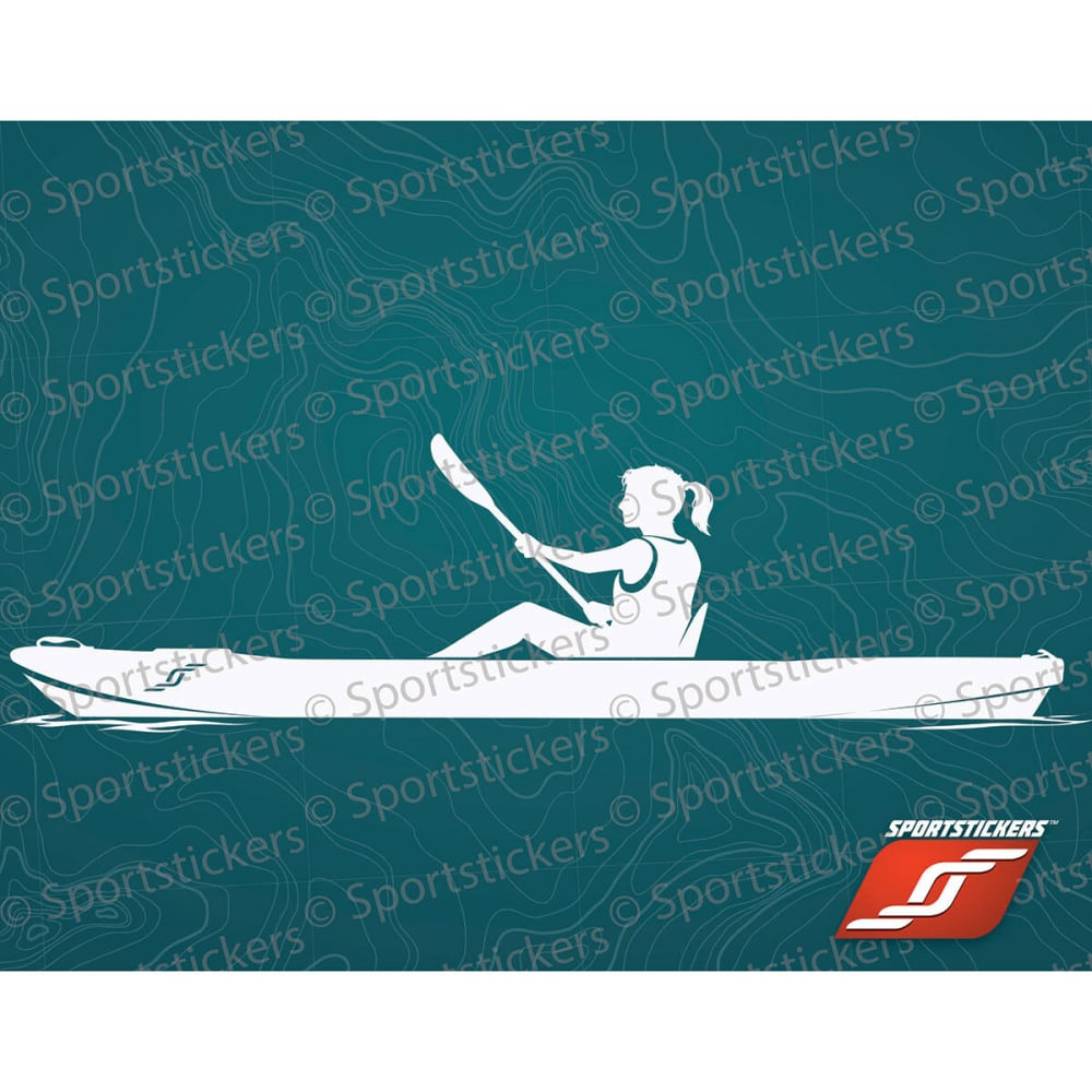 SPORTSTICKERS Women's Sit-On-Top Kayaker, White - WHITE