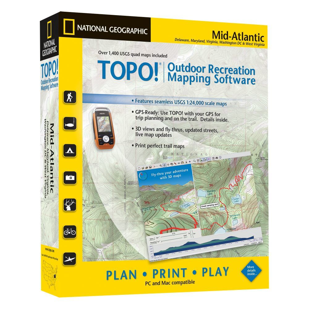 NATIONAL GEOGRAPHIC TOPO! Mid-Atlantic Mapping Software - NONE