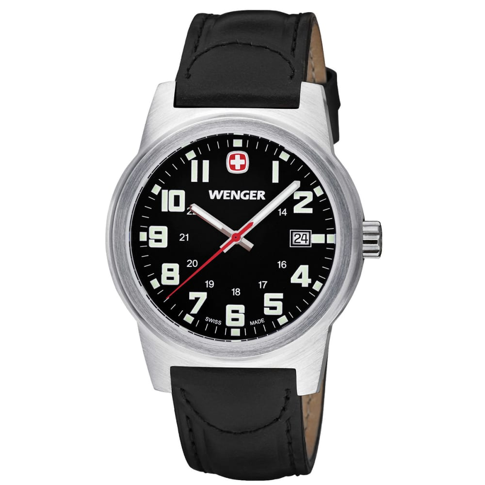 WENGER Classic Field Watch, Leather Strap - SILVER/BLACK