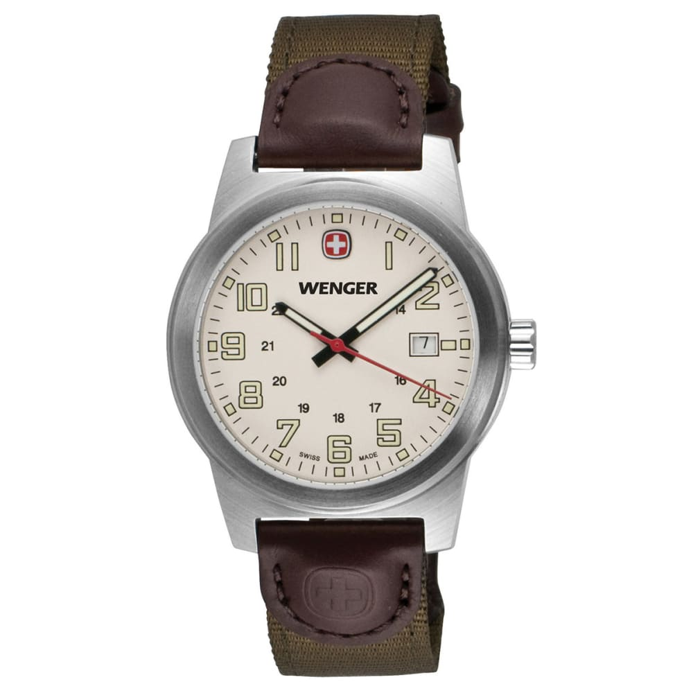 WENGER Classic Field Watch, Nylon Strap - IVORY/BROWN