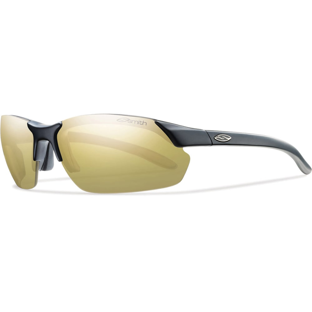 A performance-driven accessory for all your outdoor endeavors, Smith's Parallel Max Sunglasses provide more coverage, while maintaining a minimalist look and feel. Includes interchangeable lenses for changing light conditions. Medium fit; large coverage; 9 base curve provides maximum amount of wrap around your face. Polarized Gold Mirror lenses (brown with gold mirror) for bright sun conditions—provide strong contrast in bright conditions. 14% VLT (Visible Light Transmission): the smaller the number, the darker the lens. Lenses provide 100% protection from harmful UVA/B/C rays. Polarized lenses reduce glare from snow, water, asphalt; provide truest color and object definition; reduce eye fatigue. Scratch- and impact-resistant Carbonic TLT lenses are optically corrected to maximize visual clarity and object definition—ideal for sport and casual use. Tapered LensTechnology (TLT) ensures distortion-free vision through a curved lens. Hydroleophobic lens coating repels moisture,
