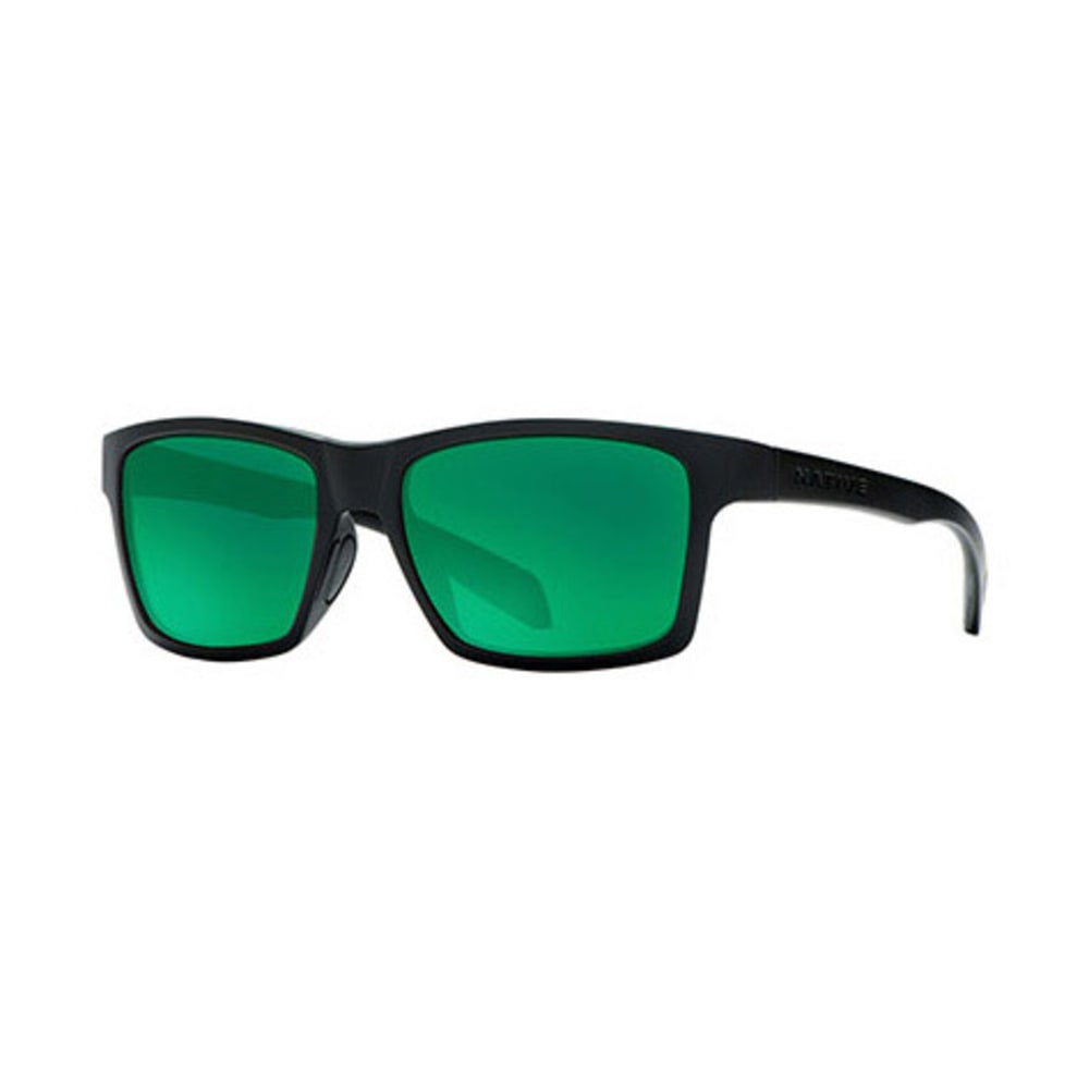 NATIVE Flatirons Sunglasses, Asphalt/Green Reflex - MATTE BLACK