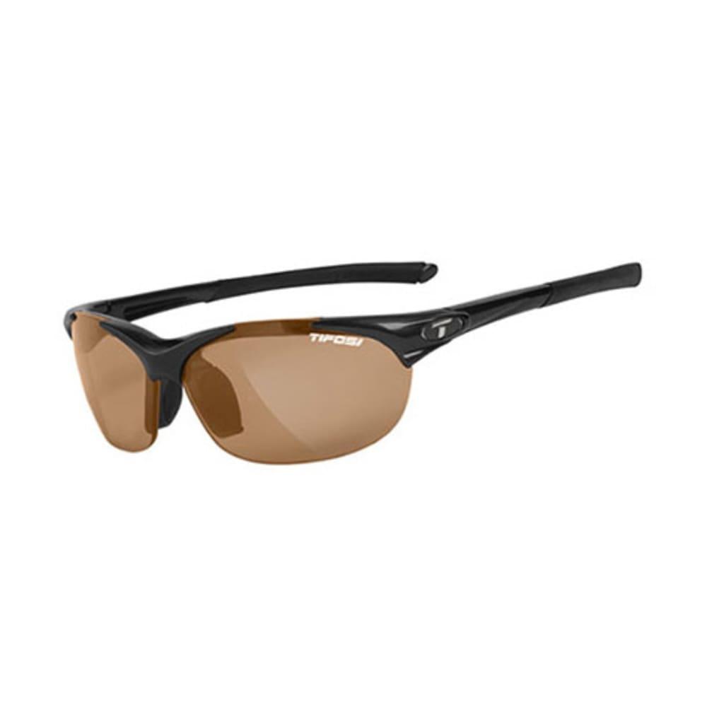 TIFOSI Women's Wisp Sunglasses, Gloss Black/Brown Polarized - BLACK