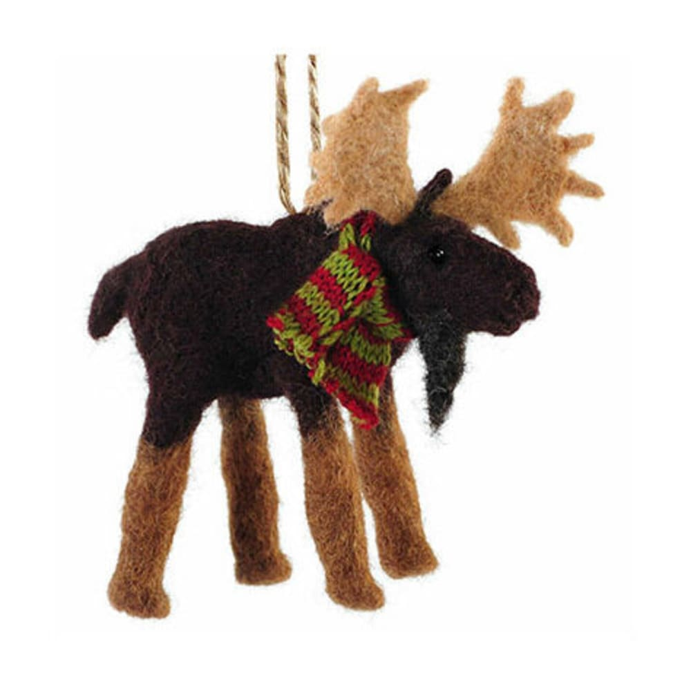 OUTSIDE INSIDE Felted Moose Ornament - NONE