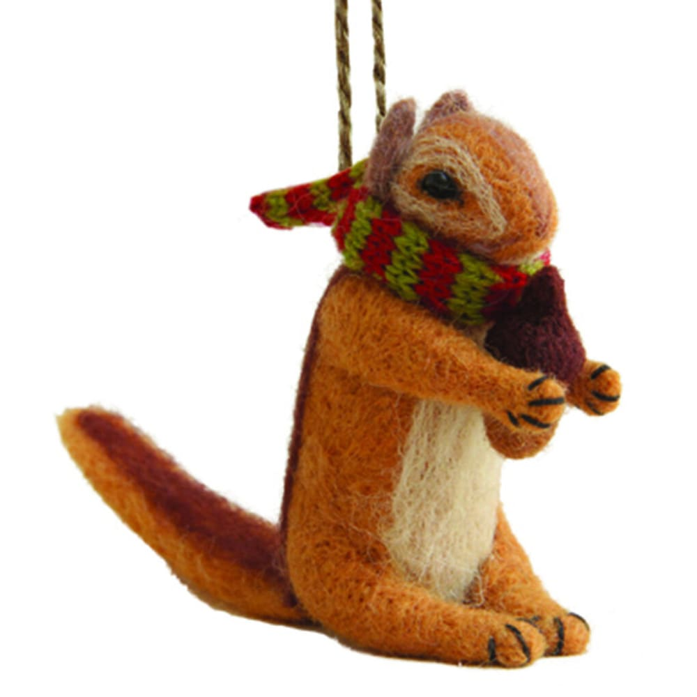 OUTSIDE INSIDE Felted Chipmunk Ornament - NONE