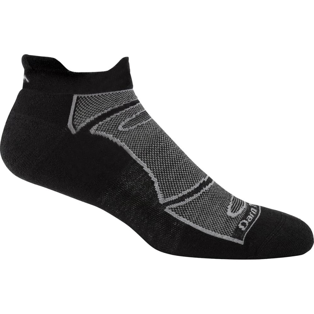 DARN TOUGH Men's No-Show Light Cushion 1/4 Run/Bike Socks - BLACK/GRAY