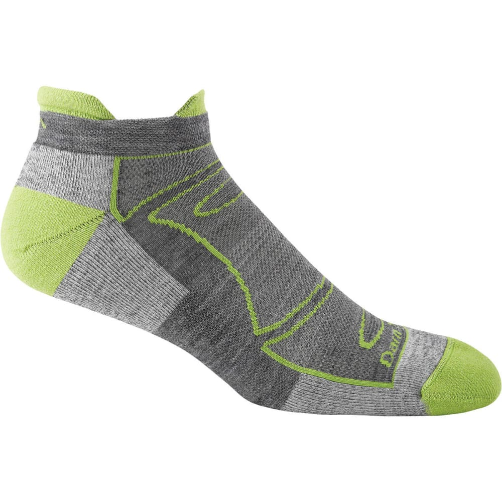 DARN TOUGH Men's No-Show Light Cushion 1/4 Run/Bike Socks - Green/Gray