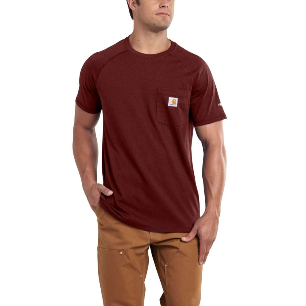 CARHARTT Men's Force Delmont Short-Sleeve Tee - 603 RED BRN HTHR