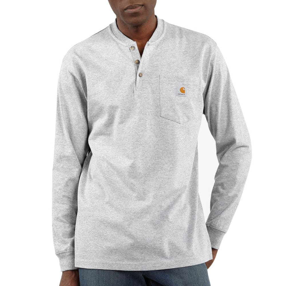 CARHARTT Men's Workwear Pocket Long-Sleeve Henley - HGY HEATHER GREY