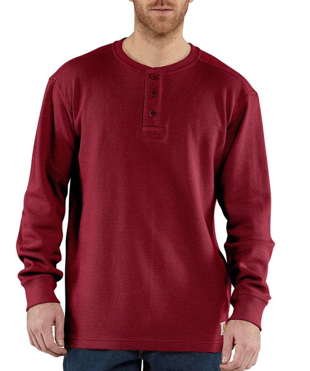 CARHARTT Men's Textured Knit Henley - DARK RED
