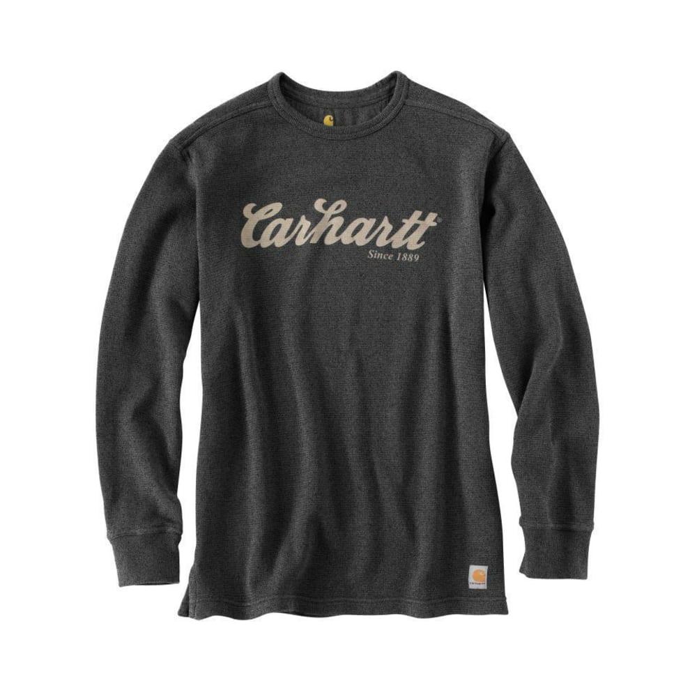 CARHARTT Men's Textured Knit Script Graphic Shirt - CARBON HEATHER