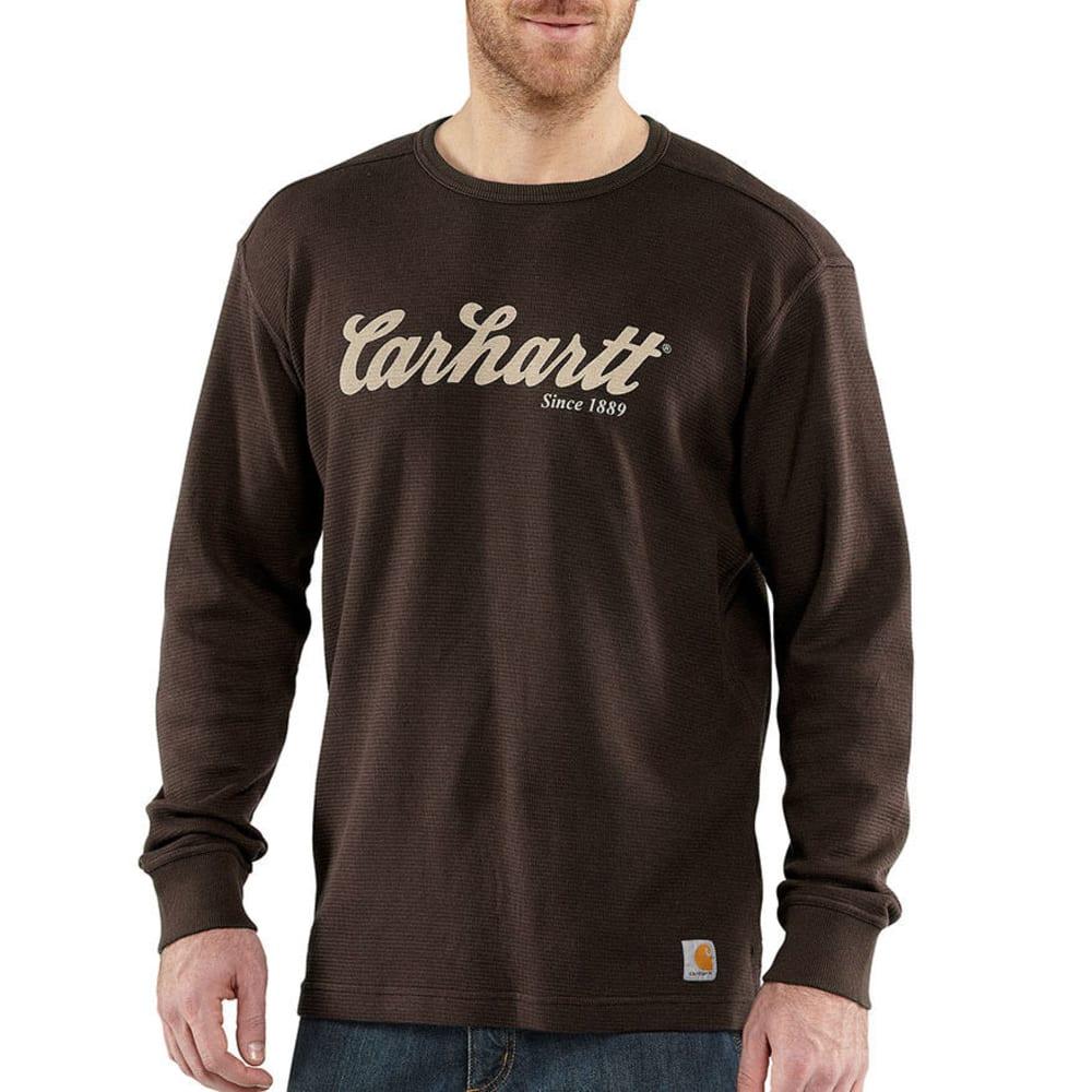 CARHARTT Men's Textured Knit Script Graphic Shirt - BROWN