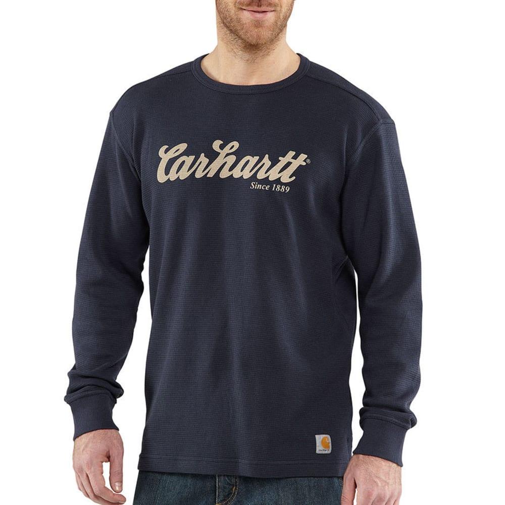 CARHARTT Men's Textured Knit Script Graphic Shirt - NAVY
