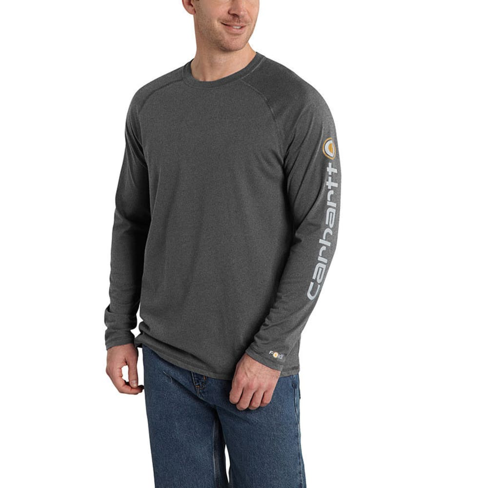 CARHARTT Men's Force Delmont Sleeve Graphic Tee - 026 CARBON HEATHER