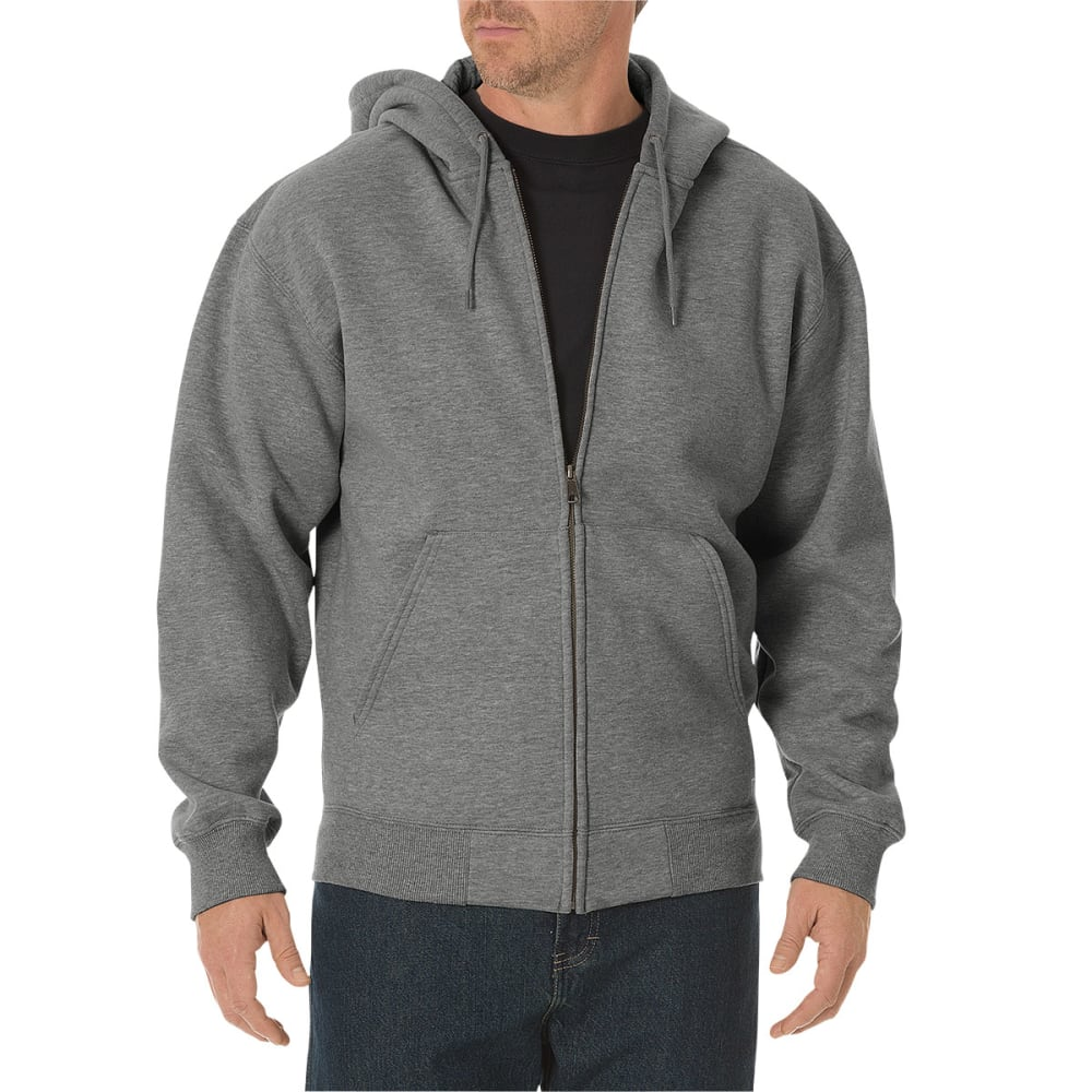 DICKIES Men's Midweight Fleece Full Zip Hoodie - HEATHER GREY-HG
