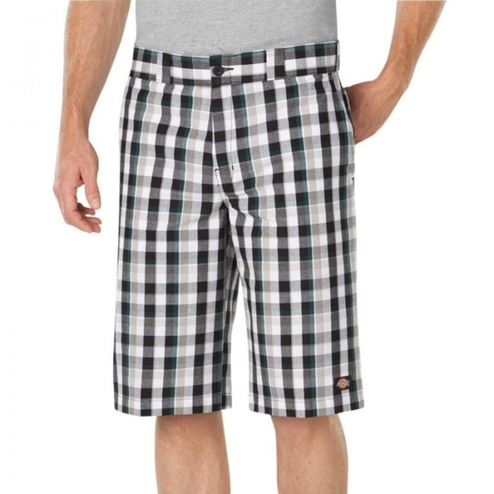 DICKIES Men's 13 in. Regular Fit Multi-Use Pocket Plaid Shorts - TIP LIMO/RB PLAID
