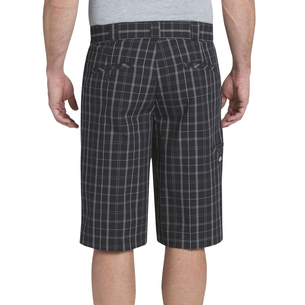 DICKIES Men's 13 in. Regular Fit Multi-Use Pocket Plaid Shorts - OSP BLUE/DK SLATE PD
