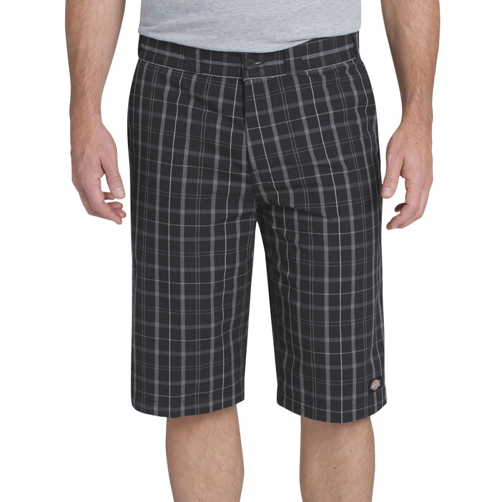 DICKIES Men's 13 in. Regular Fit Multi-Use Pocket Plaid Shorts - OSP BLUE/DK SLATE PD