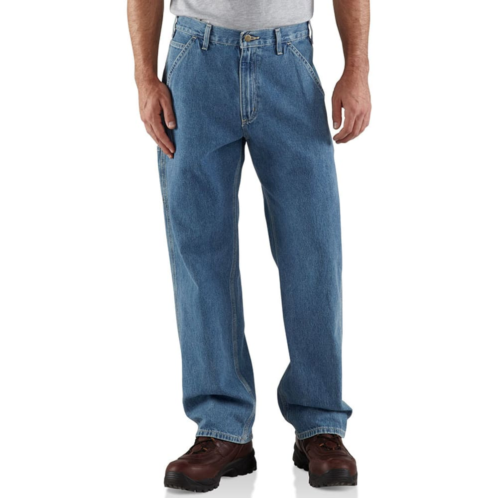 CARHARTT Men's Loose Fit Washed Denim Work Dungarees - STW STONEWASH