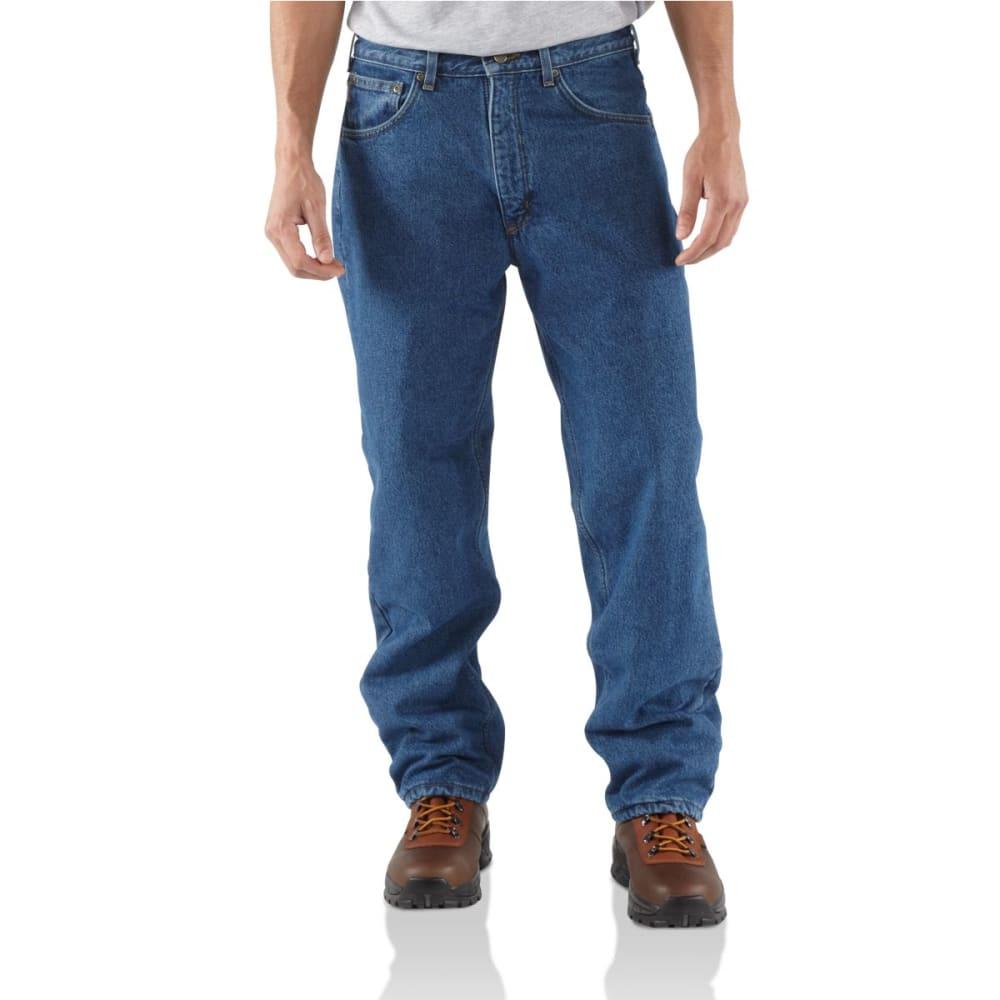 9b733f02 CARHARTT Men's Straight Leg Fleece Lined Relaxed Jeans - DST DARK STONE