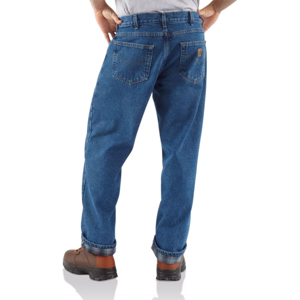 CARHARTT Men's Relaxed Fit Flannel-Lined Work Jeans - DST DK STONE