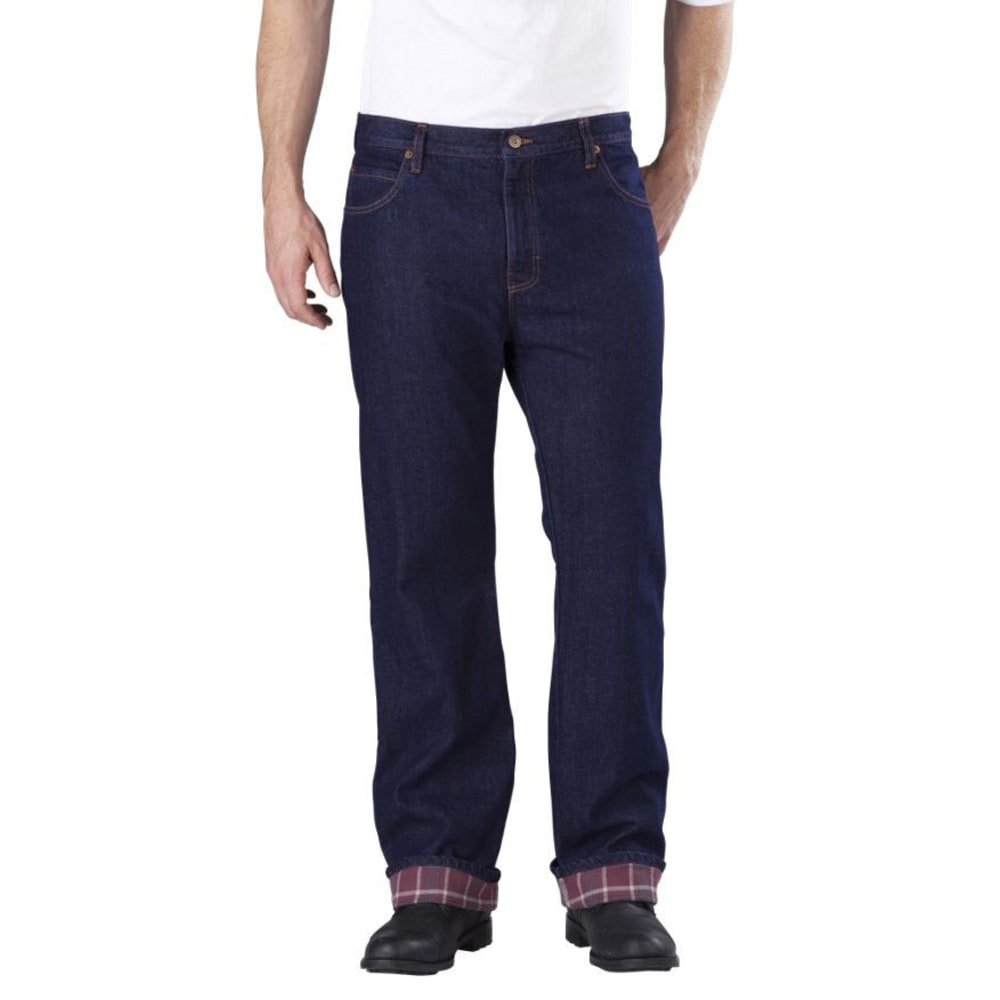 DICKIES Men's Relaxed Straight Fit Flannel-Lined Jeans - RINSED INDIGO