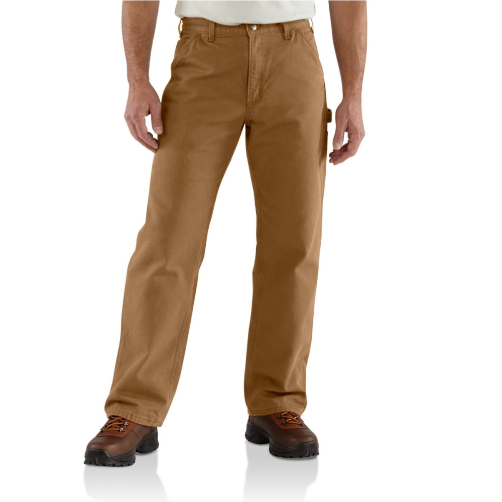 CARHARTT Men's Washed Duck Flannel Lined Work Pants - CARHARTT BROWN