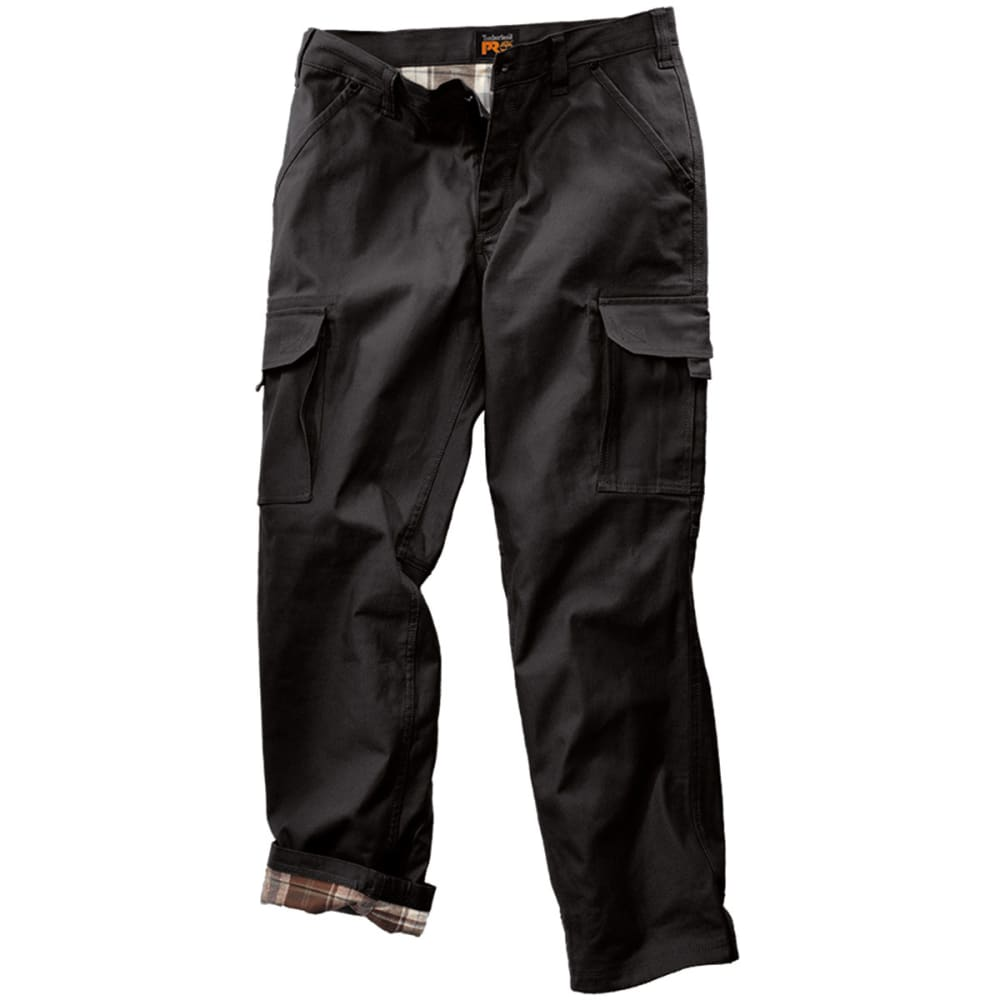TIMBERLAND PRO Men's Gridflex Flannel Lined Canvas Work Pants - BLACK 015