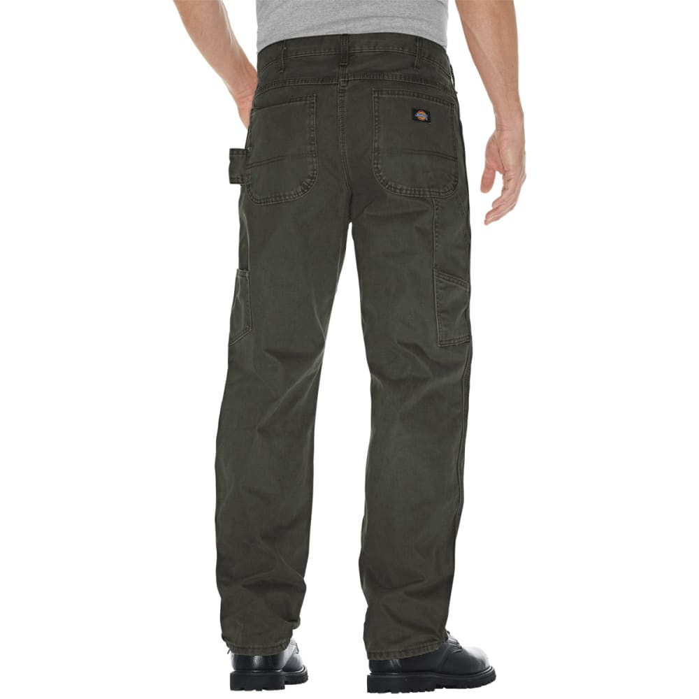 DICKIES Men's Relaxed Fit Sanded Duck Carpenter Jean - MOSS