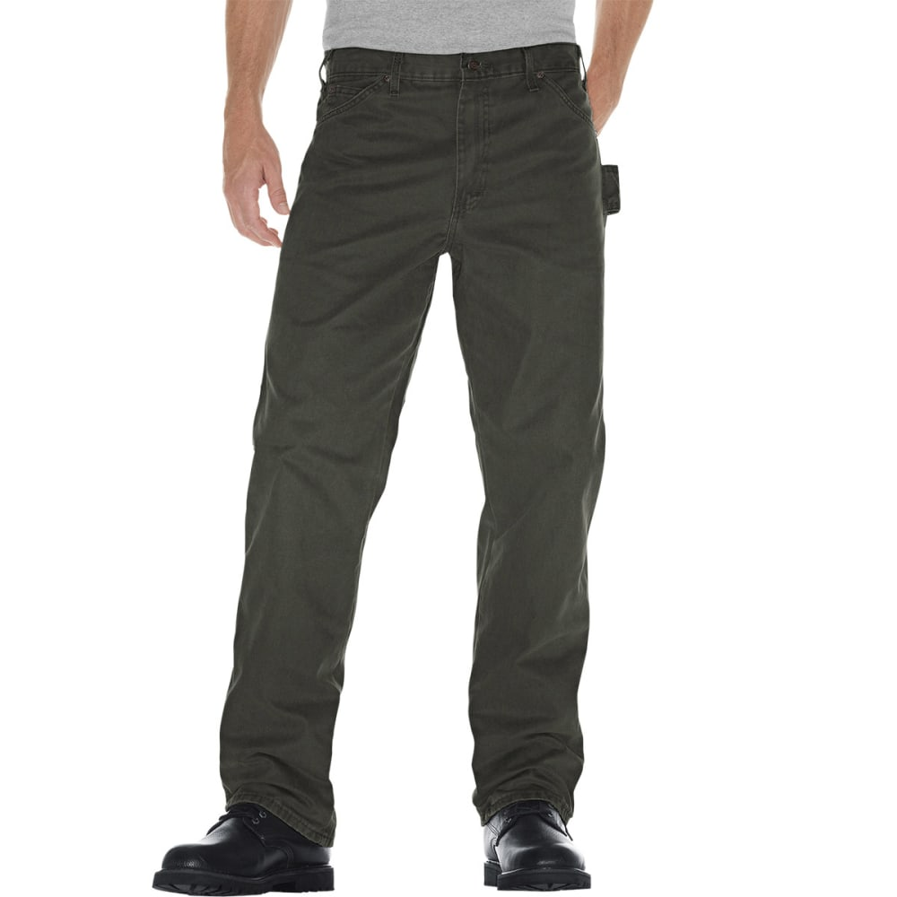 DICKIES Men's Relaxed Fit Sanded Duck Carpenter Jean - RMS MOSS