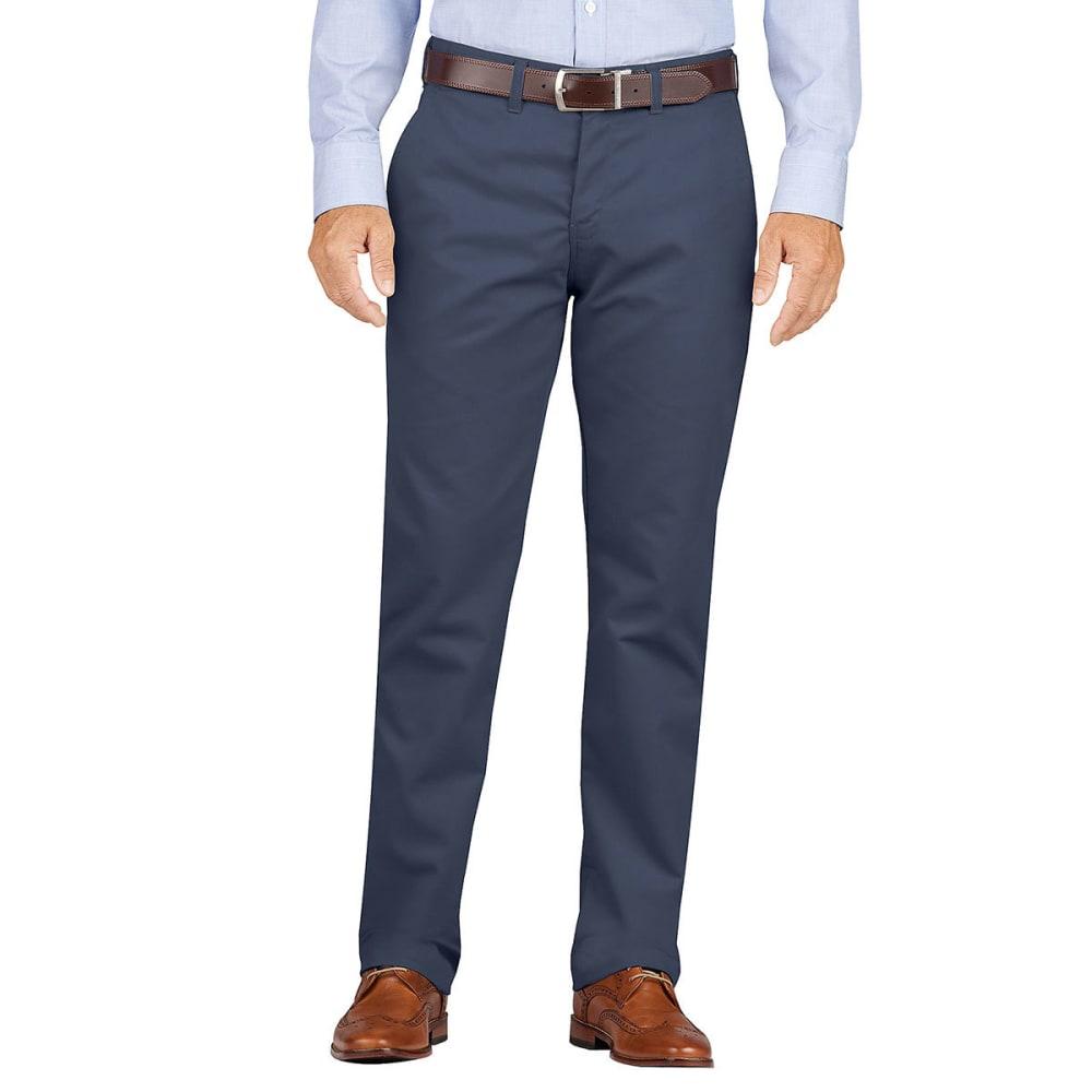 DICKIES Men's Dickies KHAKI Slim Fit Tapered Leg Flat Front Pant - RNSD DK NAVY-RDN