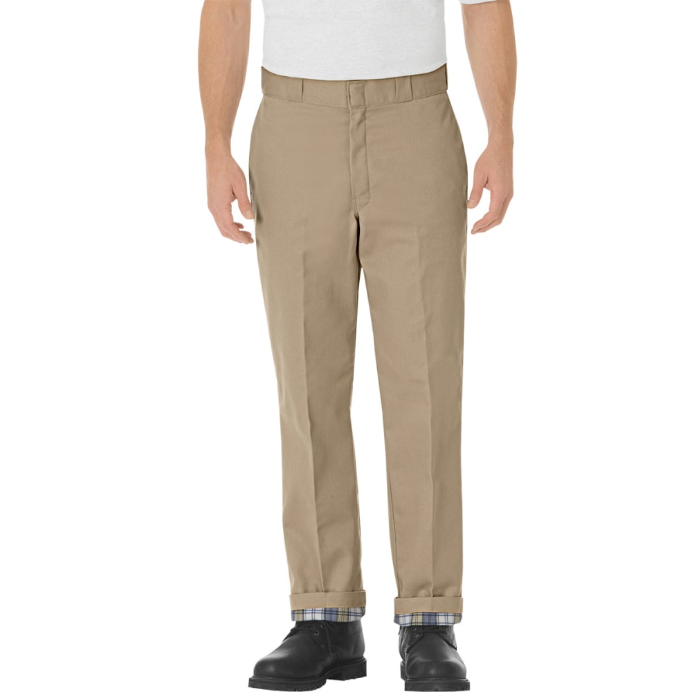 DICKIES Men's Relaxed Fit Flannel Lined Work Pants - KHAKI