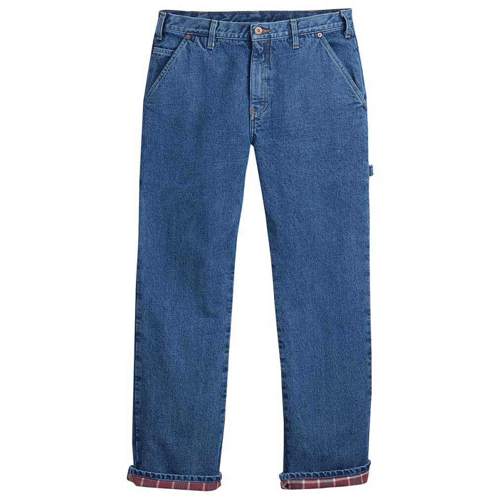 DICKIES Men's Relaxed Fit Straight Leg Flannel-Lined Carpenter Jeans - STONEWASH