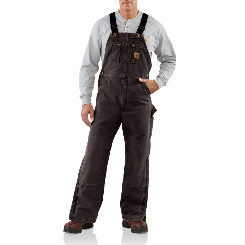 CARHARTT Men's Quilt Lined Sandstone Duck Bib Overall - DKB DARK BROWN