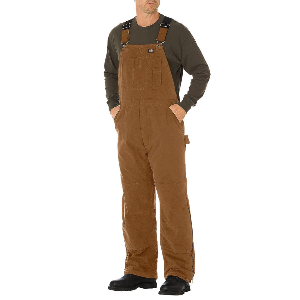DICKIES Men's RBD Brown Sanded Duck Insulated Bib Overalls - BROWN