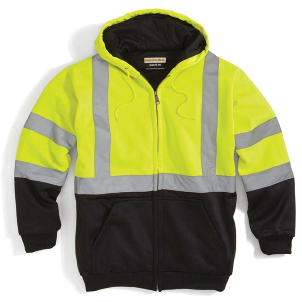 UTILITY PRO WEAR Men's UHV425 Stain-Resistant ANSI Class 3 Hi Vis Hooded Sweatshirt L