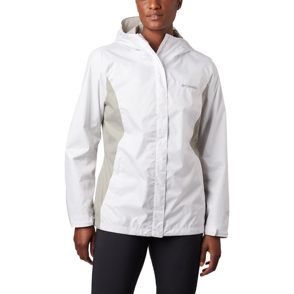 COLUMBIA Women's Arcadia Rain Jacket - 101-WHITE/FLINT GREY