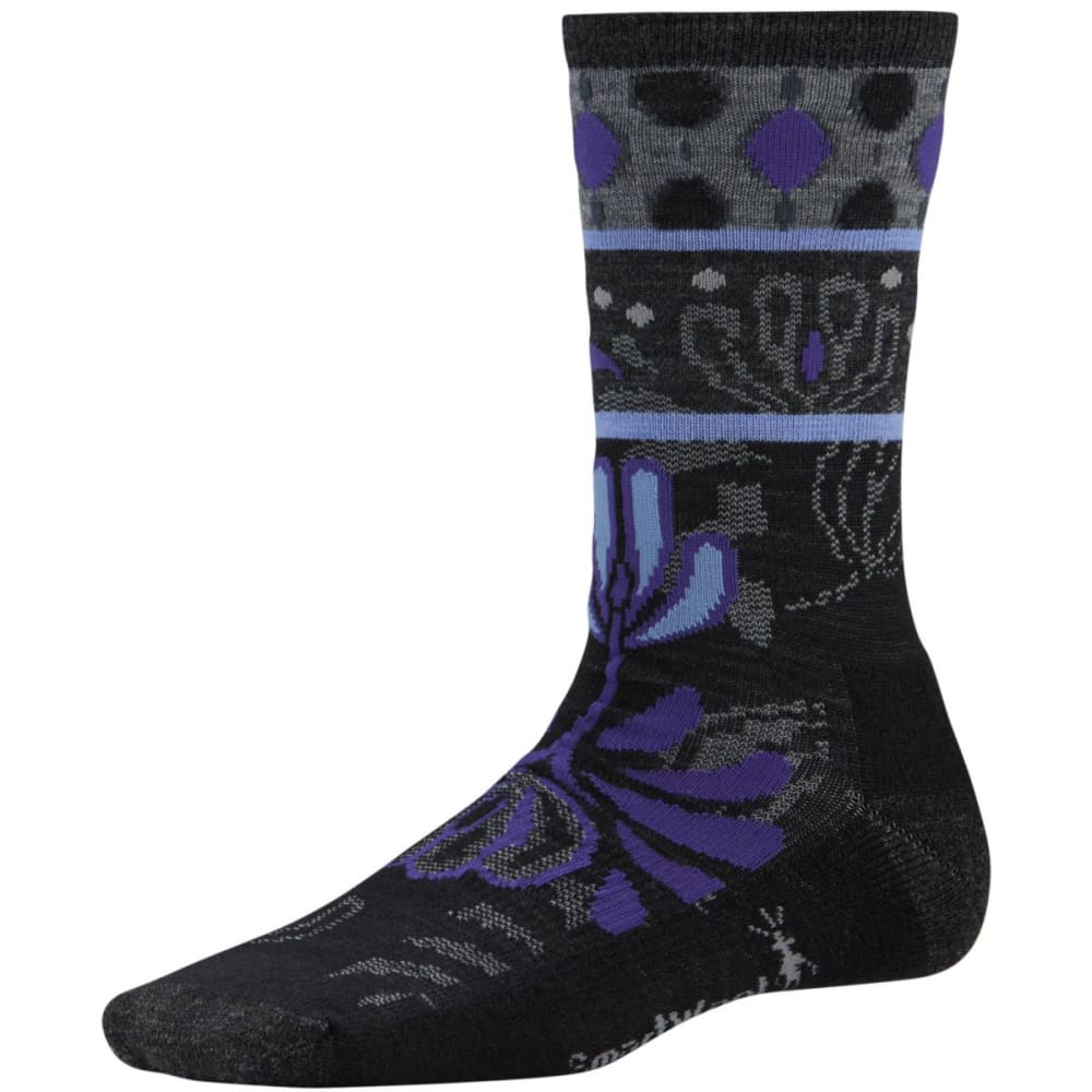 SMARTWOOL Women's Reflections Flower Crew Socks - BLACK
