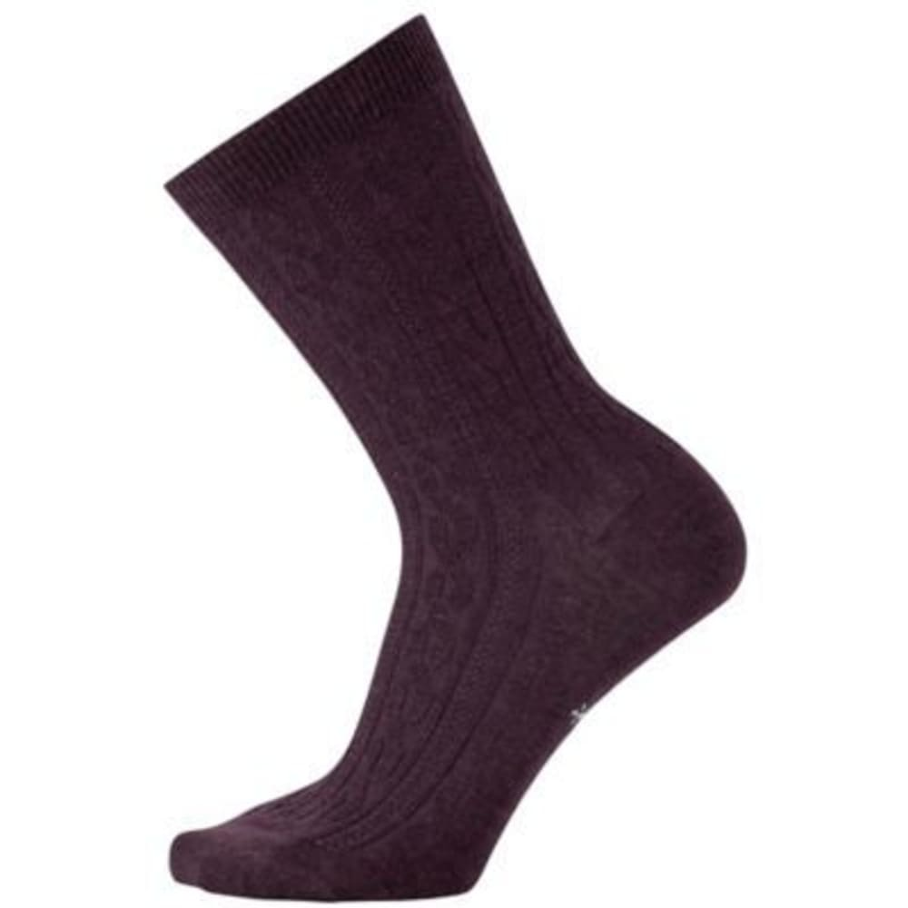 SMARTWOOL Women's Cable II Crew Socks - BORDEAUX HET 587