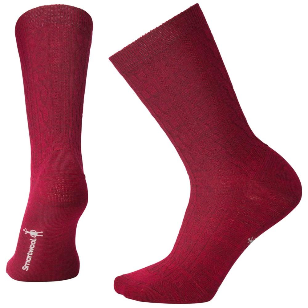 SMARTWOOL Women's Cable II Crew Socks - A14-TIBETAN RED