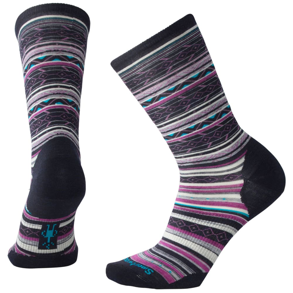 SMARTWOOL Women's Ethno Graphic Crew Socks - 108-DEEP NAVY HEATH