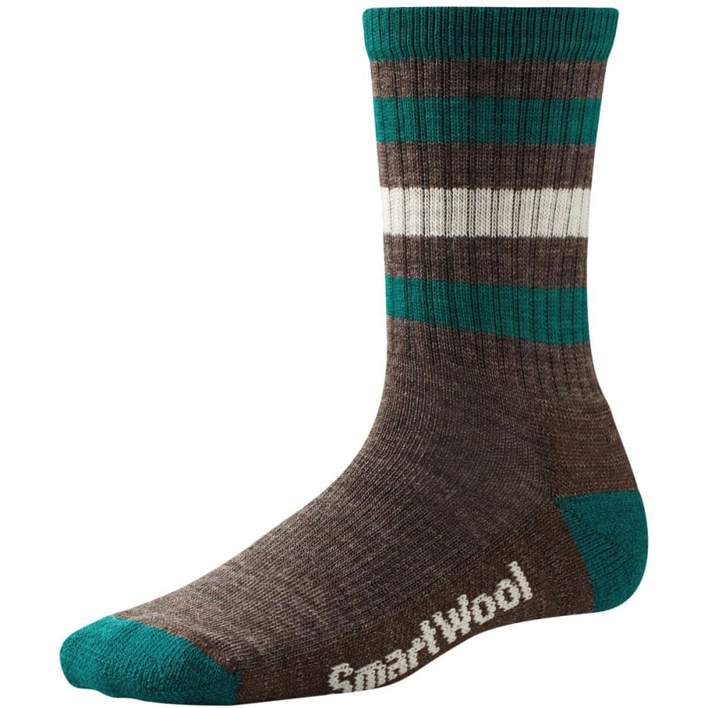 SMARTWOOL Women's Striped Hike Light Crew Socks - TAUPE/DARK SPEARMINT