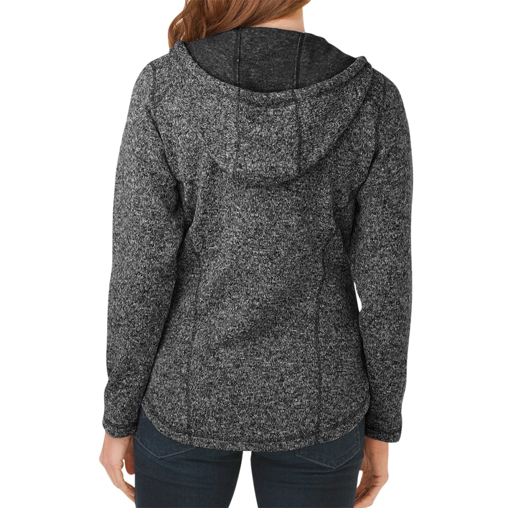 DICKIES Women's Sweater Hooded Fleece Jacket - BLACK/WHITE