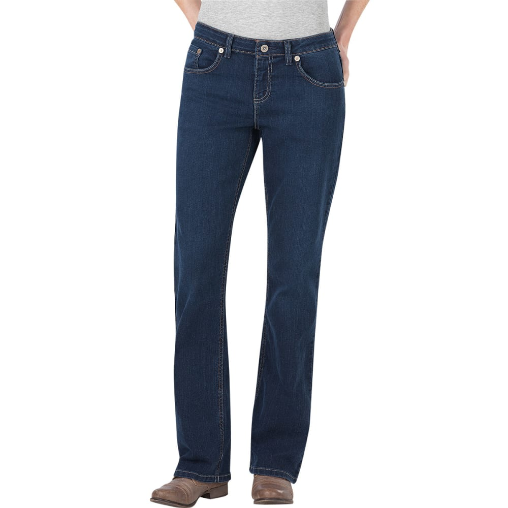 DICKIES Women's Relaxed Boot Cut Jeans - MEDIUM STONEWASH