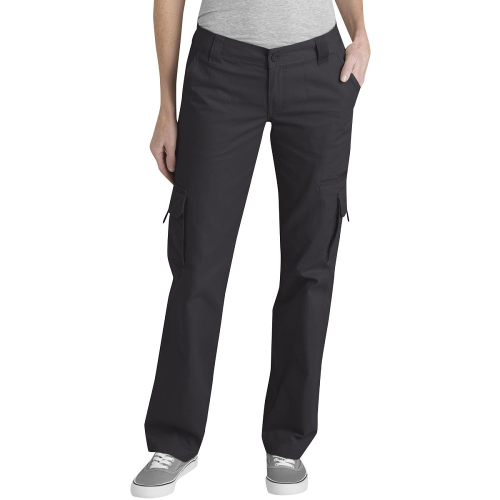 DICKIES Women's Relaxed Cargo Pants - RINSED BLACK-RBK