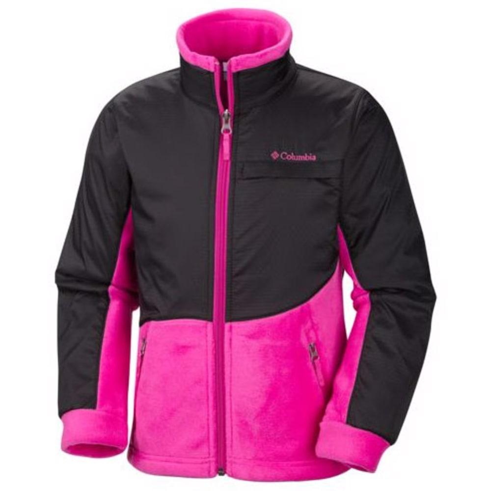COLUMBIA Girl's Benton Springs III Overlay Fleece - BLACK/PINK
