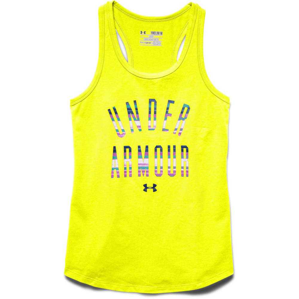 UNDER ARMOUR Girls' UA Stripe Wordmark Tank - YELLOW
