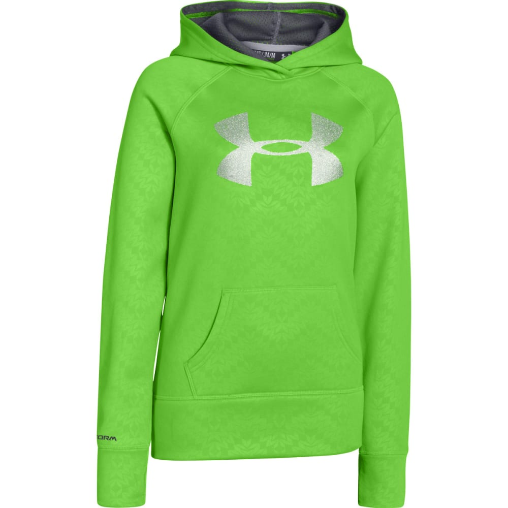 UNDER ARMOUR Girls Armour Fleece Storm Big Logo Hoodie - EQT GREEN